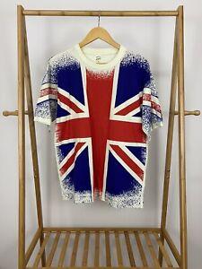 VTG-90s-Great-Britain-United-Kingdom-Flag-All-Over-Print-Single-Stitch-TShirt-XL