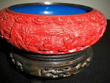 CHINESE*CINNABAR LACQUER*HAND CARVED*CLOISONNÉ ENAMEL*20th century*BOWL