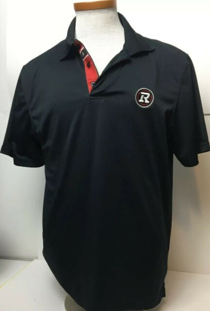 Ottawa Redblacks Black Logo CFL Football Collared Golf T-shirt Size Medium