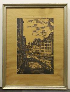 """"""" Paysage Urbain Plupart Canal/fleuve """" Bois/linogravure Monogr.plattensign. Lr Et D'Avoir Une Longue Vie."""