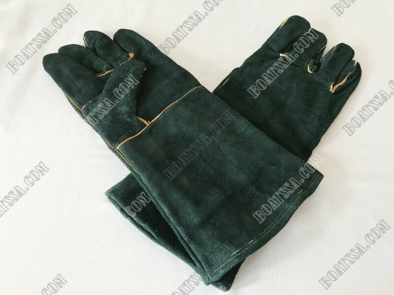 GREEN LINED LEATHER WELDING GLOVES
