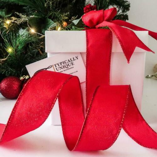 RED SPARKLE CHRISTMAS RIBBON WIRE EDGED TREE BOW DECORATION GIFT WRAP /'REGAL/'