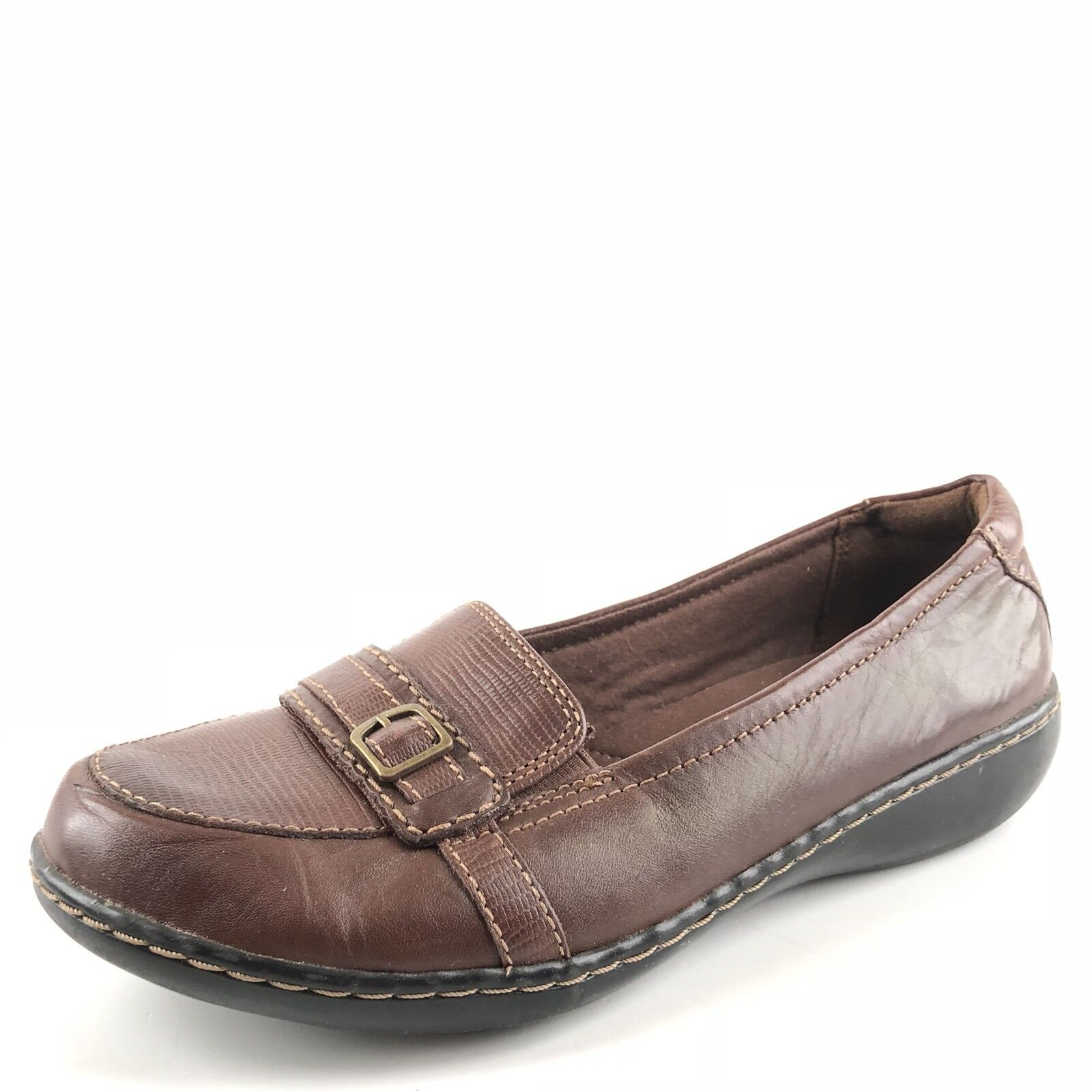 Clarks Artisan marron Leather Wedge Slip On Loafers femmes Taille 9.5 M
