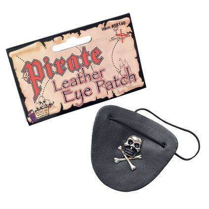PIRATE LEATHER EYE PATCH ON ELASTIC,SKULL CROSSBONE,EYEPATCH FANCY DRESS #US