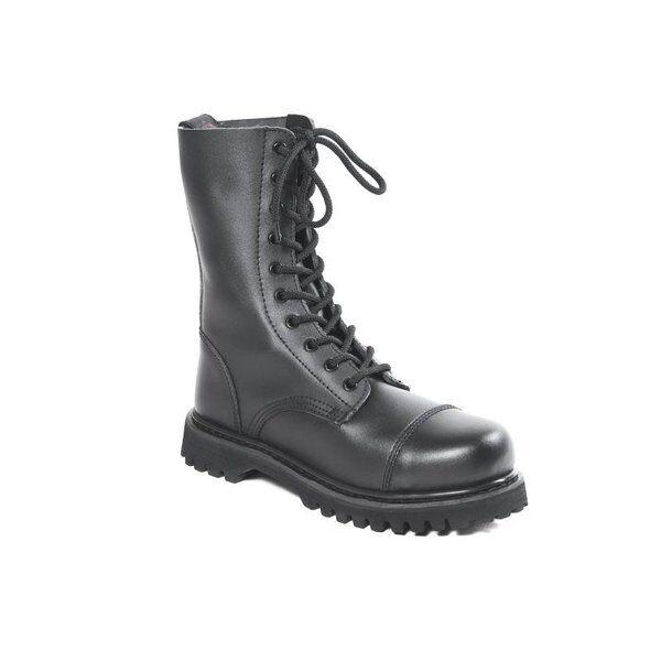 HLS Boots - 10-loch Leder STIEFEL mit Stahlkappe (matt) Gothic Springerstiefel