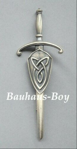 Art Pewter KILT PIN PEWTER SHIELD ON A CLAYMORE ANTIQUE FINISH MADE IN SCOTLAND