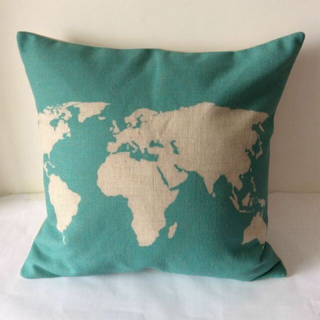 "17"" Turquoise World Map Cotton Linen Cushion Cover Throw Pillow Home Decor B244"