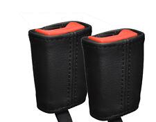BLACK Stitch si adatta AUDI A4 B7 e B8 04-13 2x ANTERIORE Cintura di sicurezza in pelle copre solo