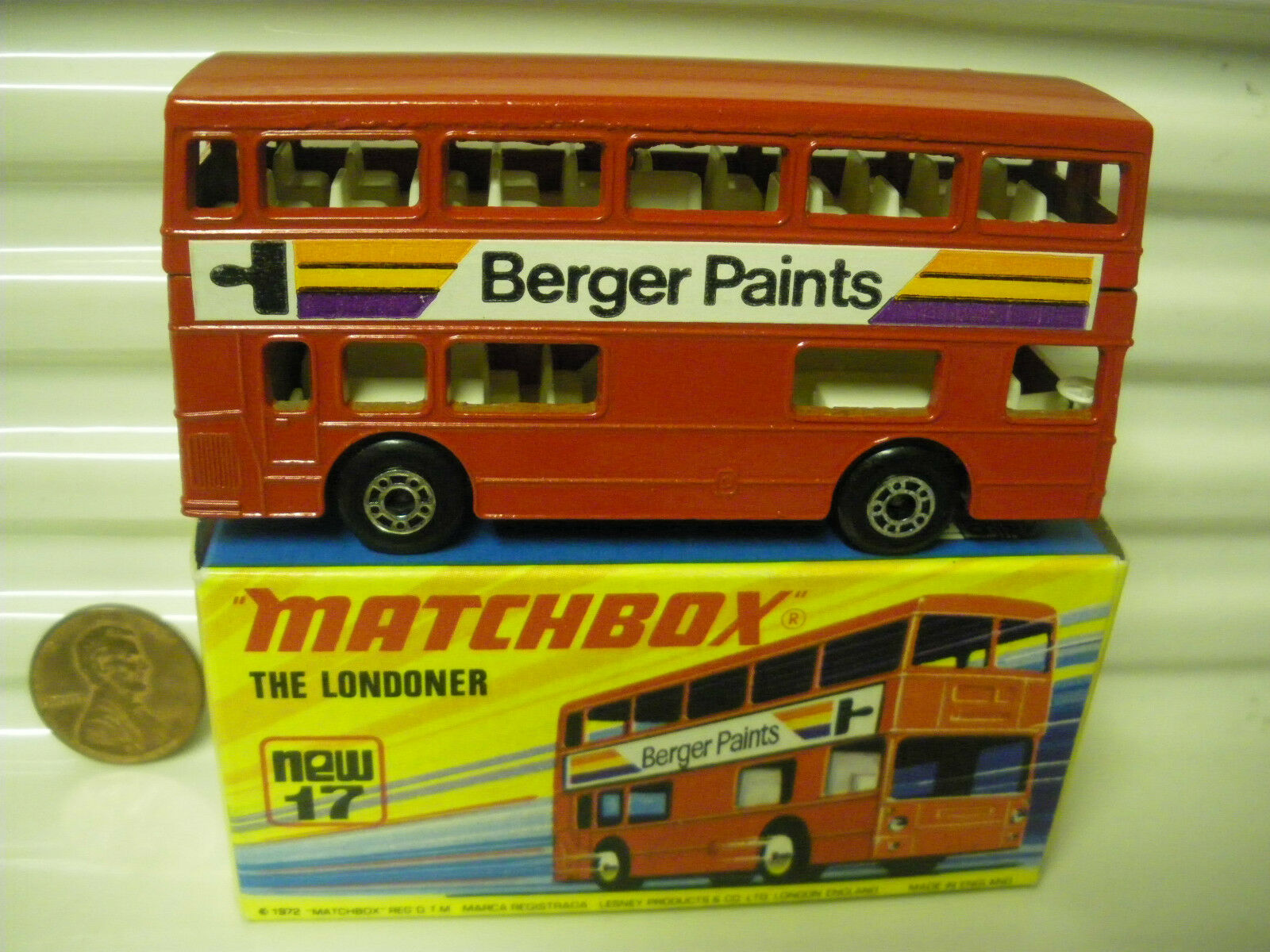 MATCHBOX MB17B BERGER PAINTS  BUS CHARCOAL BASE DotDash Whls +AXLE Braces MINT  magasin en ligne de sortie
