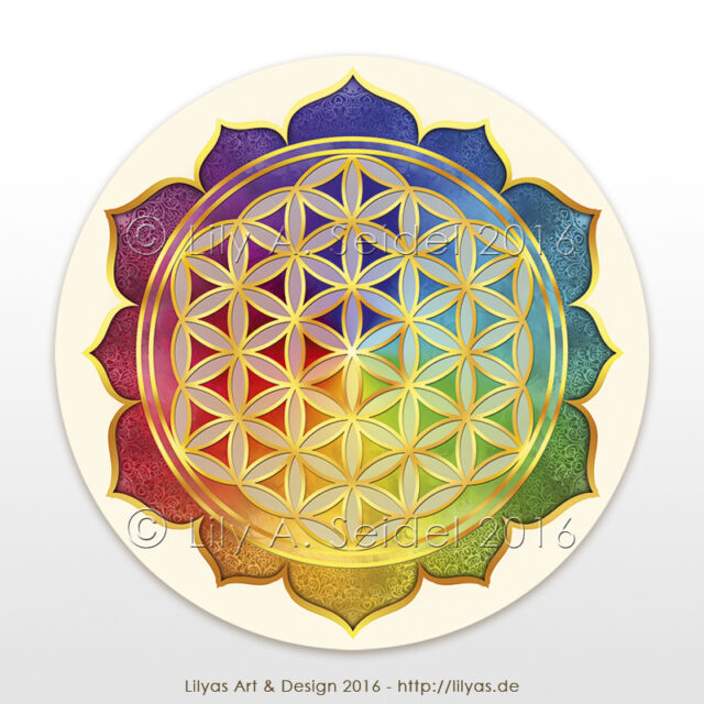 12x Flower of Life Mobile Sticker Lotus Sacred Geometry Radiation Protection