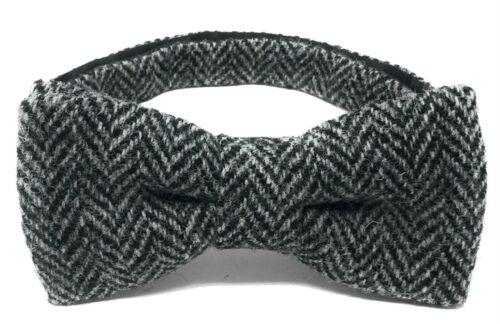 Scott MacKenzie Harris Tweed Espiga Pre Atado Corbata de Moño Negro