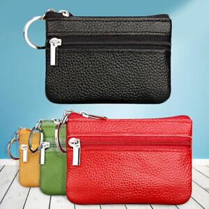 12c49ce0d0a41 Women Zip Change Coin Purse Pouch Key Fob Leather Mini Wallet Card ...