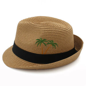 58c5926a05b39 Men Women Straw Fedora Hat Trilby Cap Summer Sunhat Jazz Sunbonnet ...