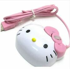 3D Hello Kitty Wired Mouse USB 2.0 Pro Gaming Optical Mice For Computer PC Pink