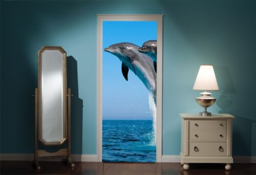 Door Mural Dolphins Jumping View Wall Stickers Decal Wallpaper 247