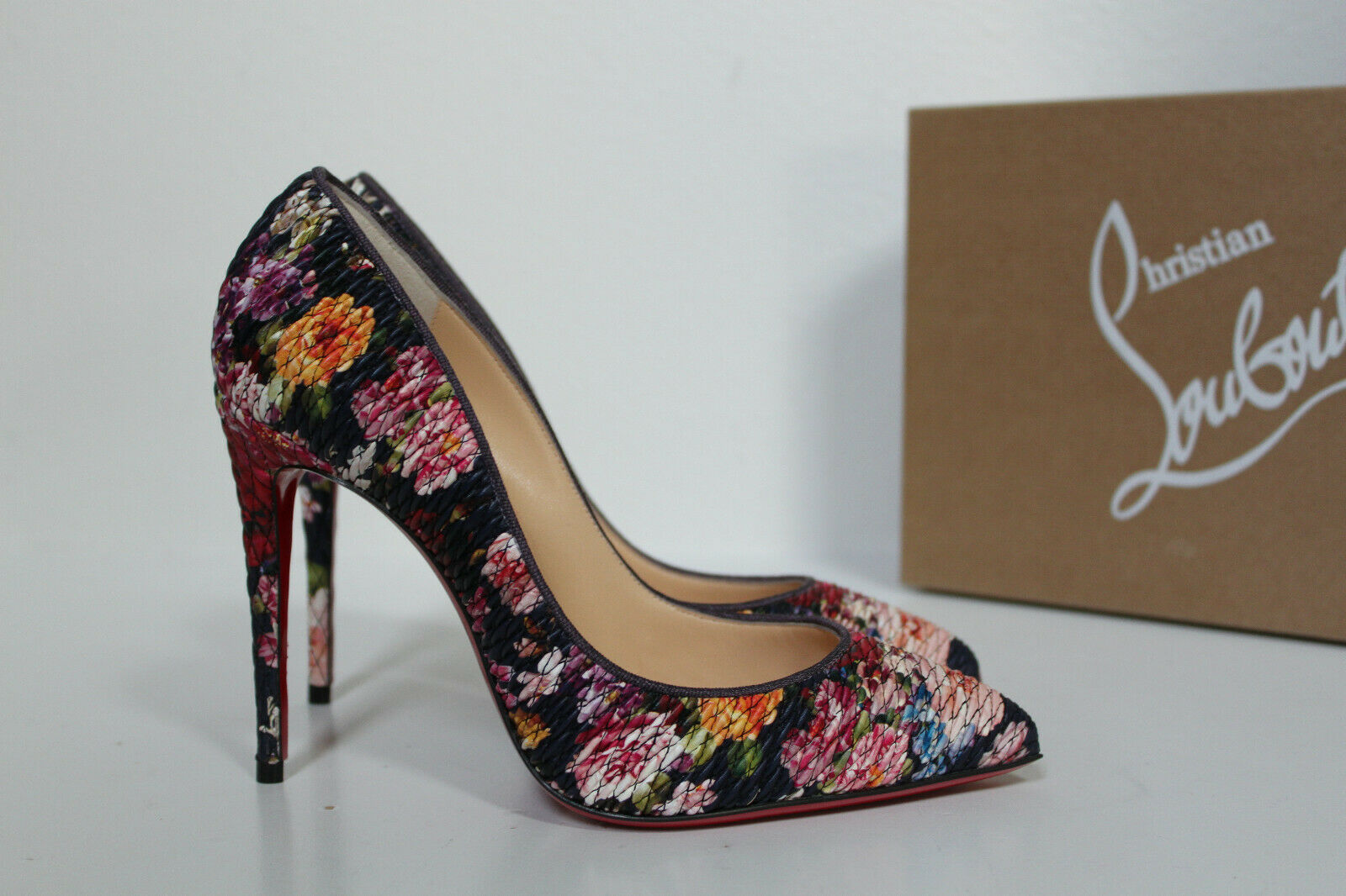 7   37 Christian Louboutin Pigalle Follies Floral Leather Pointed toe Pump schuhe
