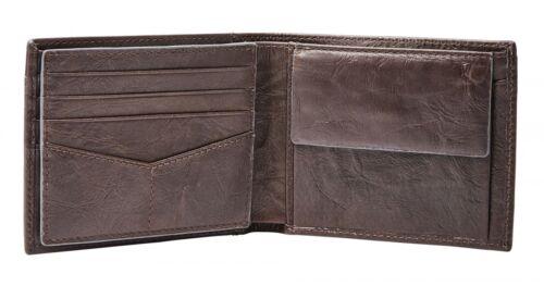 FOSSIL Neel Large Coin Pocket Bifold Geldbörse Brown Braun Neu