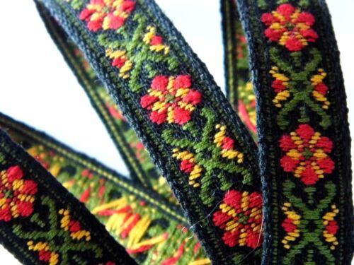 Cinta de tejido con estampado negro y verde 17 mm R055