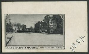 Cornwall-On-Hudson NY: c.1900 Early Private Mailing Card Postcard LIBRARY SQUARE