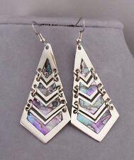 Long Alpaca Silver Abalone Shell Shutter Earrings Dangle Fashion Jewelry NEW