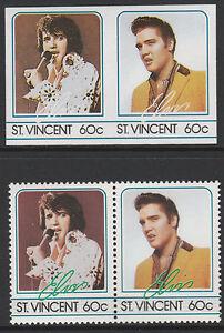 Adaptable St Vincent (2192) - 1985 Elvis 60c Imperf Paire Avec 2 Manquant Couleurs U/m Une Grande VariéTé De Marchandises