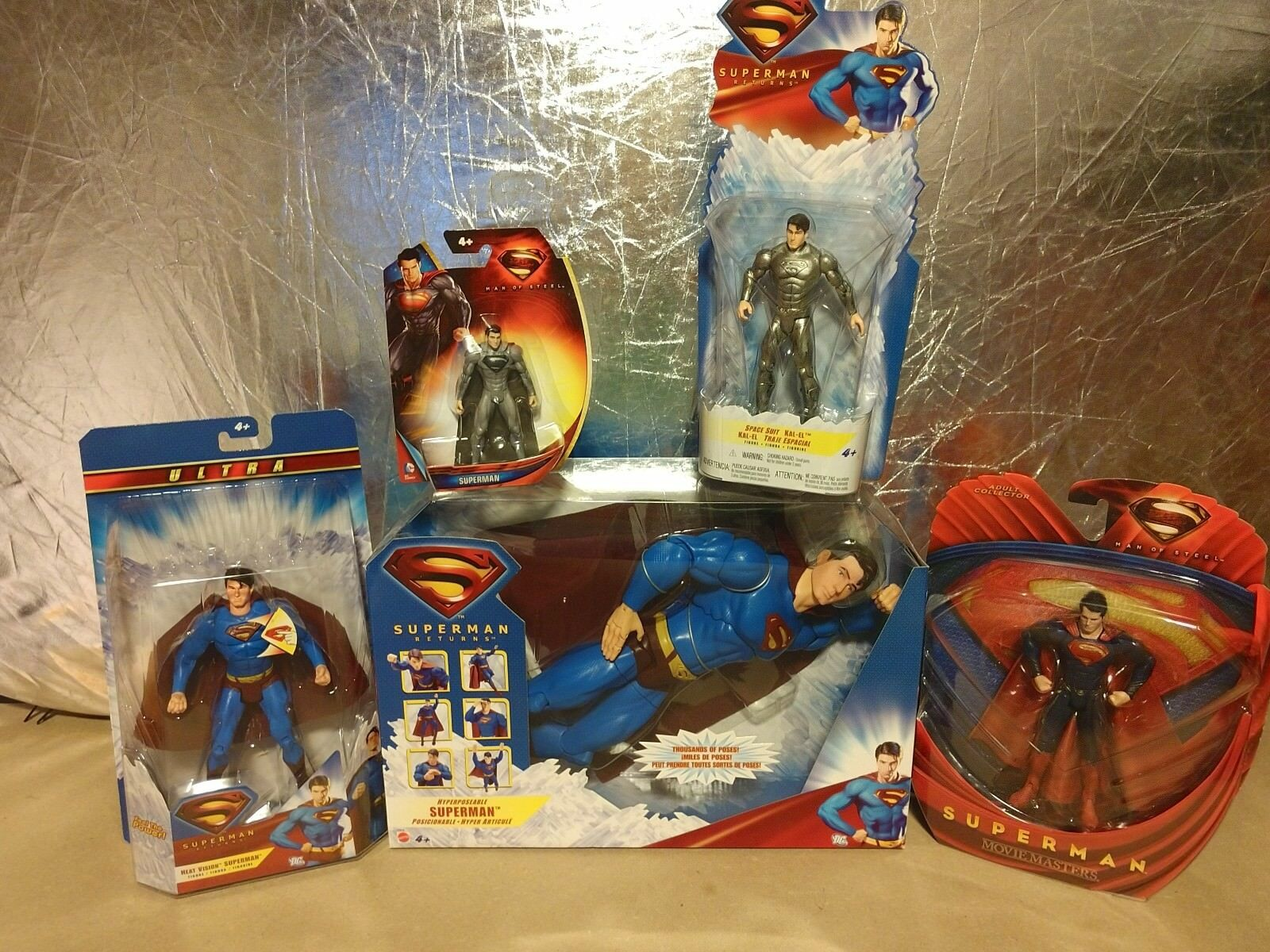 LOT of 5 Action Figures DC Comics, including HYPERPOSEABLE SUPERMAN  2006 Mattel