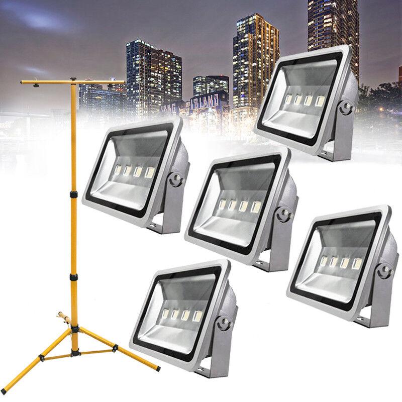 1 2 3 4 5 x 200W LED Fluter Flutlicht Kaltweiß Außenstrahler Platz IP65 + Stativ