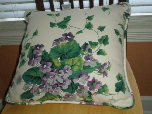Waverly Garden Room Sweet Violets Decorative Corded Pillow 15in Sq Cottage