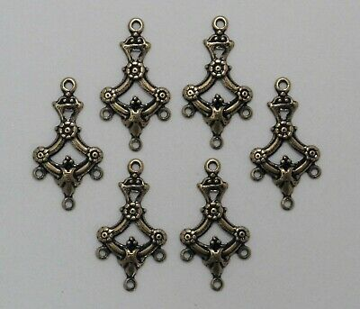 6 Pc Lot #1823 ANTIQUED SS//P FILIGREE 4 RING CHANDELIER COMPONENT
