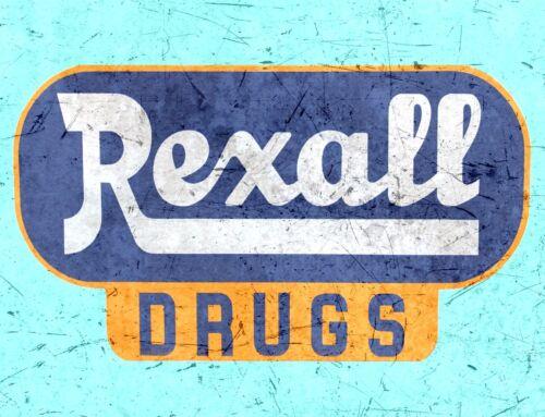 "TIN SIGN /""Rexall Drugs Blue/"" Pharmacy Art Deco Garage Wall Decor"