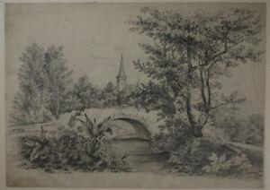 Deutsch-Landschaft-mit-Flussaue-Blei-Papier-um-1900