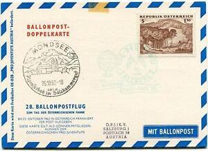 1962 Ballonpost N. 28 Pro Juventute Aerost. Oe-dzb Austria Mondsee Tag Der Fahne
