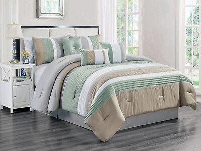 wonderful gray green bedroom bedding | 11-Pc Rania Geometric Comforter Curtain Set Mint Green ...