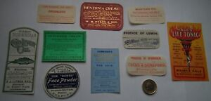 LOT-OF-10-DIFFERENT-RARE-UNUSED-ANTIQUE-VICTORIAN-COLOURED-CHEMIST-CURE-LABELS