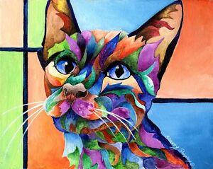 Calypso-8X10-Framed-Original-CAT-Art-on-canvas-Sherry-Shipley