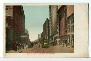 A-Street-Car-Makes-its-way-down-Second-Ave-Seattle-WA-1901-1907-Postcard