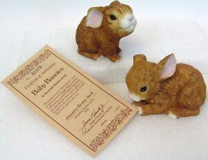 Vintage-1989-River-Shore-Jacqueline-Smith-Snuggle-Babies-Bunny-Figurines-w-COA