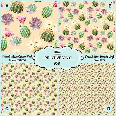 Siser Heat Transfer Vinyl Oracal Adhesive Craft Vinyl- 968 Pattern Vinyl Watercolor Flowers roses and cactus Printed HTV