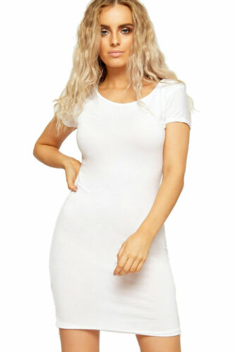 New Ladies Short Cap Sleeve Long Top Women Bodycon Plus Size Mini T Shirt Dress