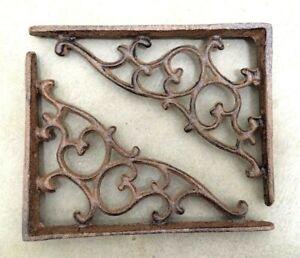 SET OF 2 LATTICE SHELF BRACKET BRACE Rustic Antique Brown Cast Iron corbel