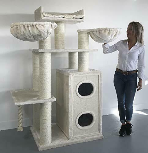 RHRQuality Cat tree for large cats Cat Paradise Beige XXL extra big breed tree