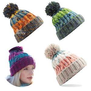 61c98f9fd33 BOBBLE HAT POM POM BEANIE CABLE KNIT WARM THERMAL SKI PASTEL FUN ...