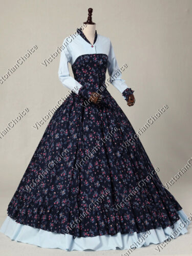 Victorian Dresses- Patterns, Costumes, Custom Dresses    Victorian Civil War Floral Print Spring Prairie Gown Dress Theater Clothing 128 $155.00 AT vintagedancer.com