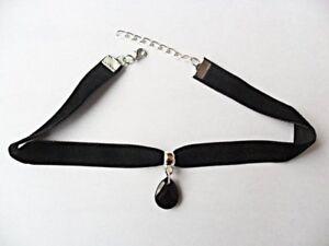 Black-velvet-choker-necklace-black-teardrop-28-33-cm-plus-size-51-55-cm