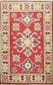 Geometric RED/ IVORY Super Kazak Oriental Area Rug WOOL Hand-Knotted 2x3 Carpet