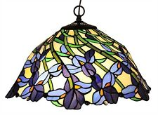 TIFFANY IRIS VIOLET FLOWERS FLORAL STAINED GLASS HANGING PENDANT CEILING LAMP