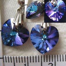Handmade Earrings using SWAROVSKI element 1cm AB Crystal heart Heliotrope  (US)1