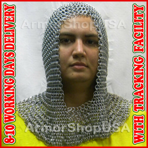 Medieval Chainmail Coif Iron Steel Zinc Plated Butted Chain Mail Hood For Sale