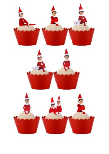20 Stand Up Christmas Elf on a Shelf  Edible Wafer Paper Cupcake Cake Toppers