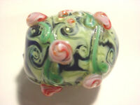 Large 27mm Glass Applied Floral Lampwork Focal Bead